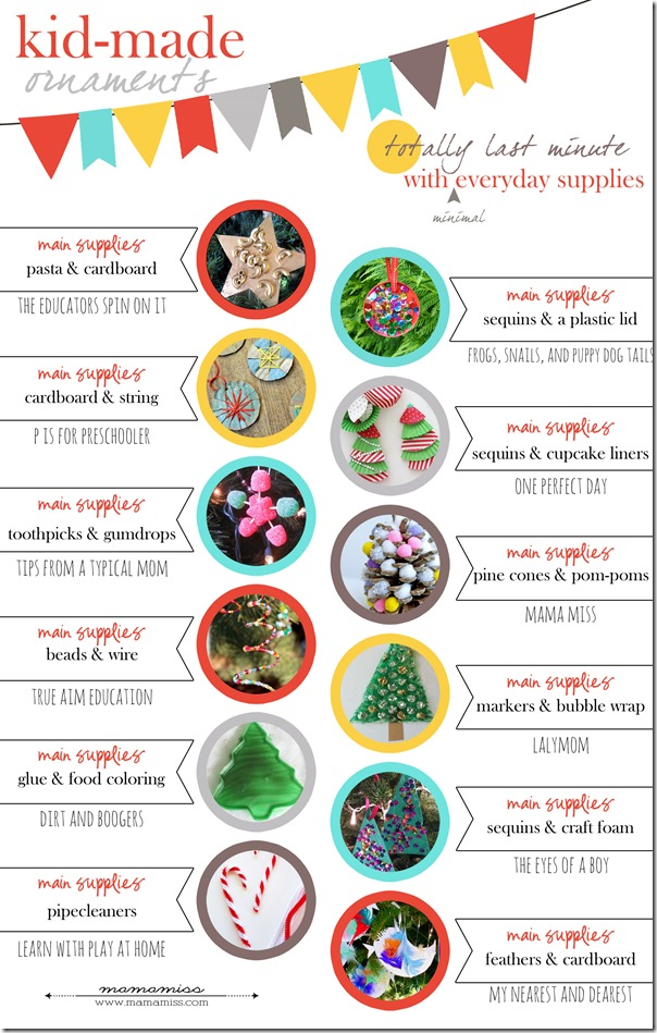 TOTALLY last minute kid-made crafts/ornaments - all require 2 or less materials!!! | @mamamissblog #kidmadecrafts #kidmadechristmas #kidmadeornaments #easykidcrafts