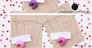 Fortune Cookie Eraser Valentines | @mamamissblog #candyfree #freeprintable #handmadeholiday