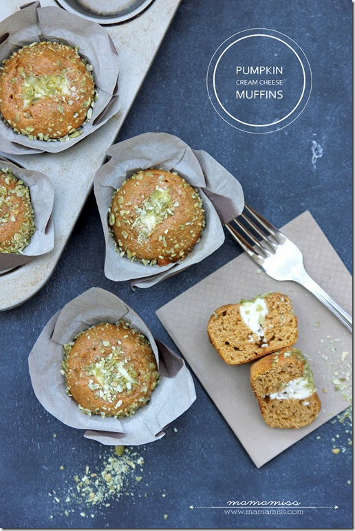 Pumpkin Cream Cheese Muffins | @mamamissblog #pumpkin #muffinlove #brunch