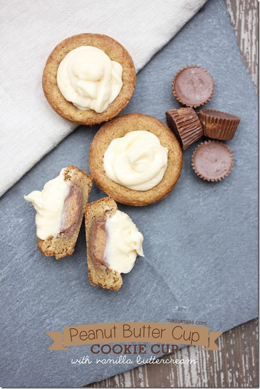 Peanut Butter Cup Cookie Cup | @mamamissblog #reeses #chocolate #cookie #buttercream