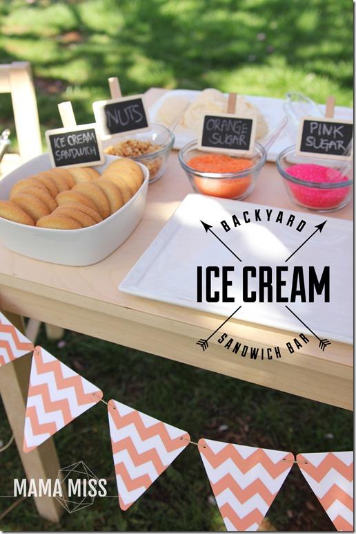 Ice Cream Sandwich Bar   @mamamissblog #icecream #bar #letterI  #kidparty