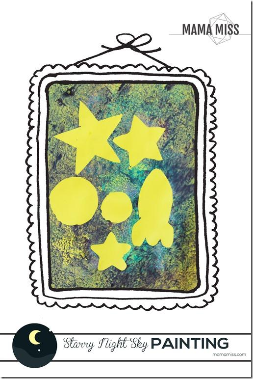 Starry Night Sky Painting | @mamamissblog #BackyardSummerCamp #adventure #learning #fun