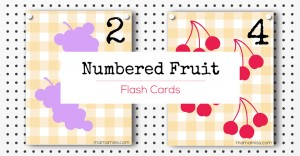 Numbered Fruit Flash Cards | @mamamissblog #freeprintable #homeschool #counting #preschool