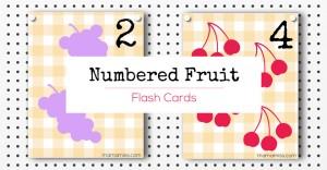 Numbered Fruit Flash Cards   @mamamissblog #freeprintable #homeschool #counting #preschool