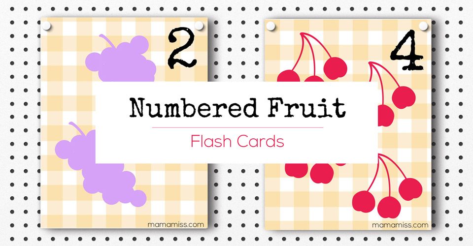 numbered fruit flash cards