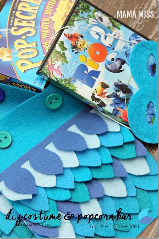 DIY Costume & Popcorn Bar | @mamamissblog #Rio2 #birdcostume #PopForRio2 #familymovienight #macaw