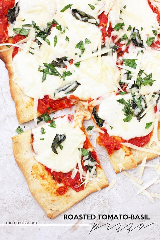 Roasted Tomato-Basil Pizza | @mamamissblog #pizza #dinnerdone #homemade