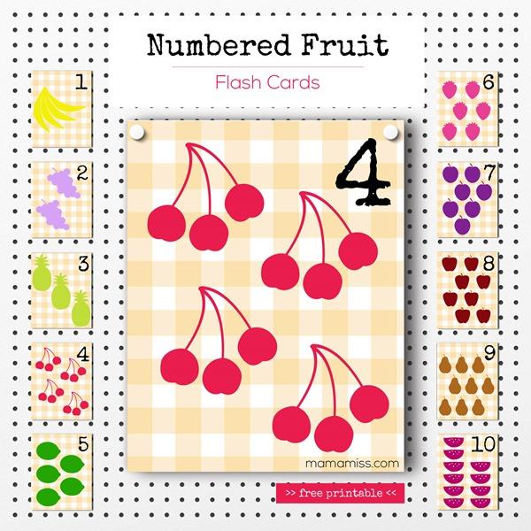 Numbered Fruit Flash Cards | @mamamissblog #freeprintable #homeschool #counting #preschool