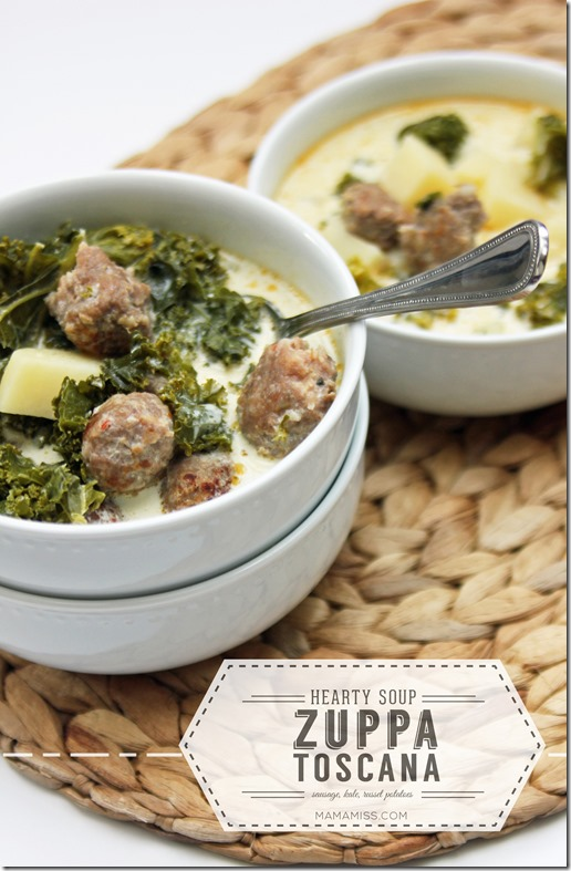 Zuppa Toscana Soup - sausage, kale, russet potatoes - a hearty veggie ...