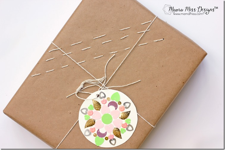Stitched Paper & Mandala Tag - an easy & creative way to add a handmade aspect to your gift giving! | by @mamamissblog #handmadeholiday #RAMS