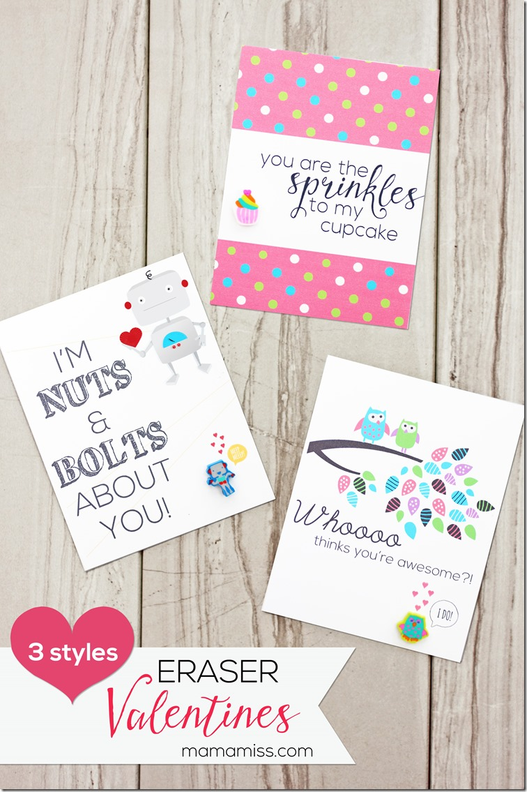 With unique designs, these 'free printable' DIY Eraser Valentines are the perfect way for your kids to celebrate with their classmates!  | @mamamissblog #valentinesday #freeprintable