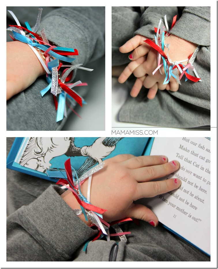 A Cat In The Hat Bracelet -with it's unique quirkiness, it is a fun little craft to accompany the book! | @mamamissblog #drseuss ‪#‎vbcforkids‬