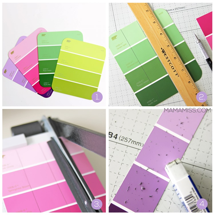 Paint Chip Bookmarks - a simple & inexpensive way (it'll only cost about 28¢) to create a pretty little bookmark!   @mamamissblog