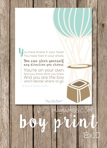 Free printable Dr. Seuss Quote Art for Kids' Rooms.  Made for both boys & girls! | @mamamissblog