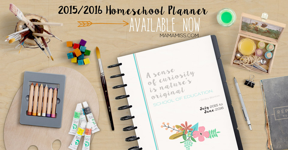 2015/16 Homeschool Planner - get inspired daily on your homeschooling journey! From @mamamissblog