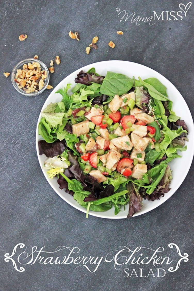 Strawberry-Chicken Salad - This yummy strawberry salad is the perfect addition to your summer meal plans. Lite and filling - it's sure to sweeten your plate. From @mamamissblog