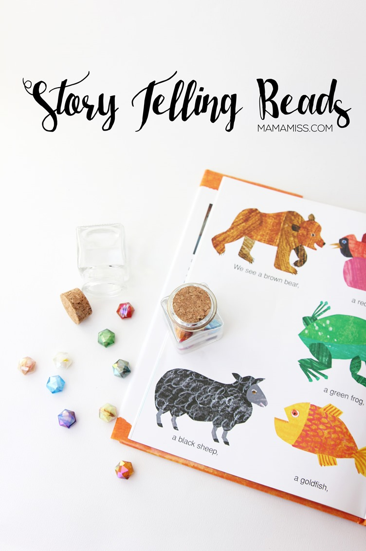 STORY TELLING BEADS - explore a fun story telling technique while practicing colors, memorization, and reading to accompany the book Brown Bear, Brown Bear, What Do You See by Bill Martin Jr. from @mamamissblog