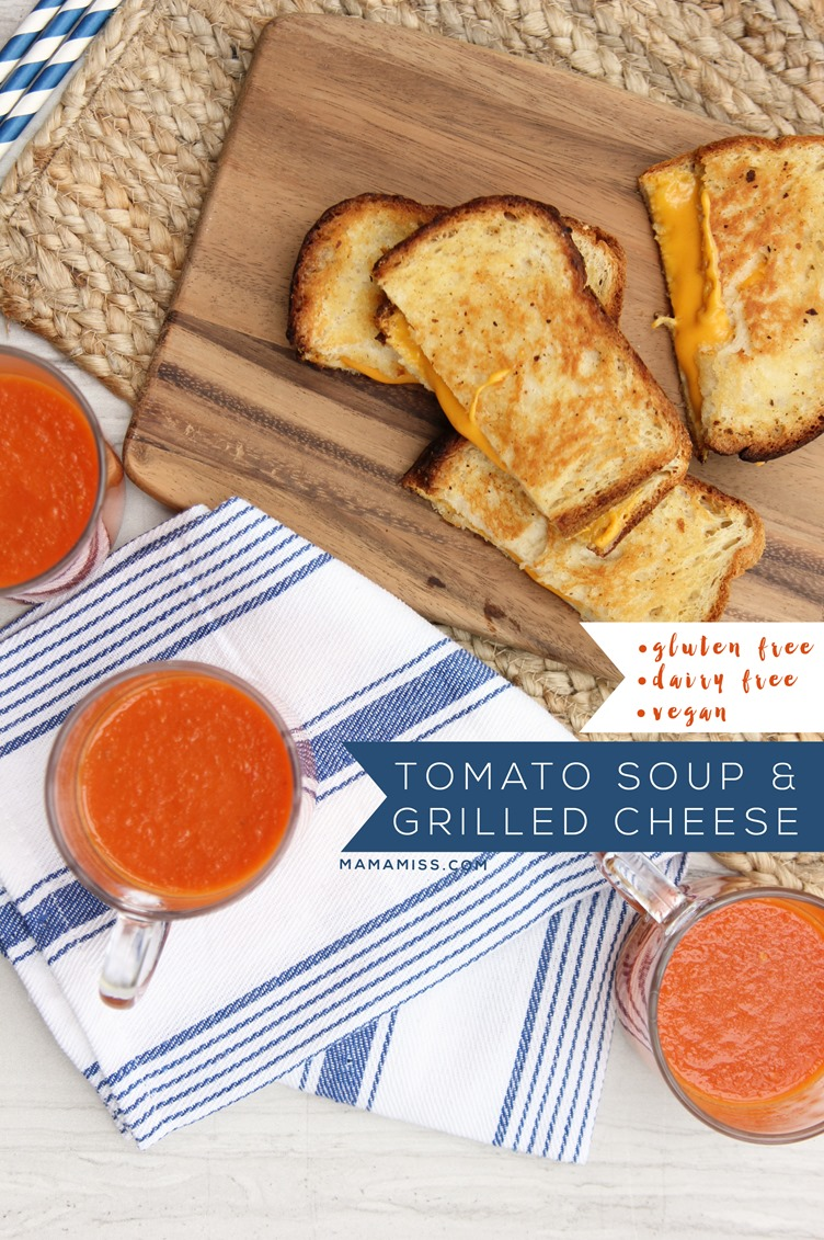 Vegan, gluten free, & dairy free ooooey gooey goodness with this Tomato Soup & Grilled Cheese  from @mamamissblog