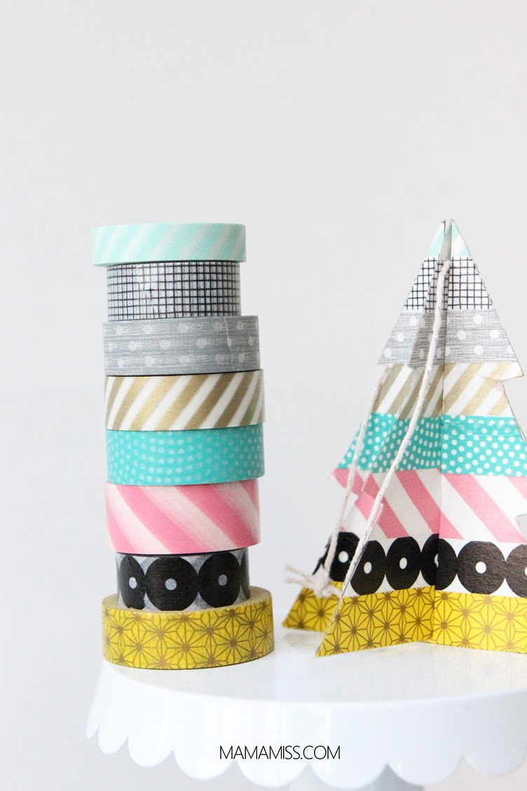 10 Days of a Kid-Made Christmas - Washi Tape Trees inpired by the Eric Carle book Dream Snow from @mamamissblog