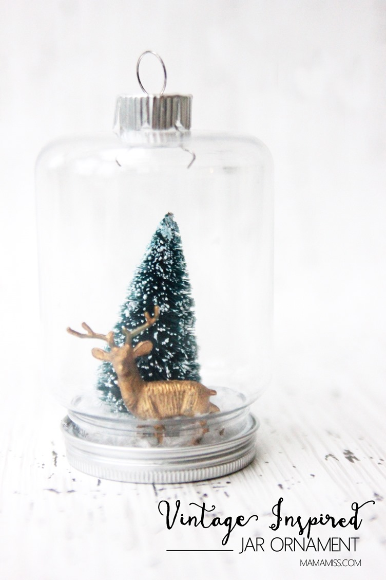 10 Days of a Kid-Made Christmas - Vintage Inspired Jar Ornament inspired by the Henry Cole book The Littlest Evergreen from @mamamissblog