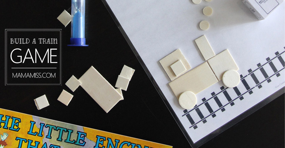 Build A Train Game! Reinforce shapes & counting with a fun little game. from @mamamissblog
