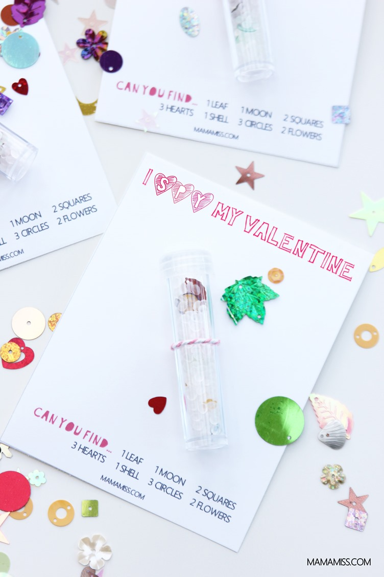 A yummy Valentine's Day treat without the sugar!  Skip the candy and let a special little someone know you've had your eye on them with a printable DIY I Spy Valentines card.