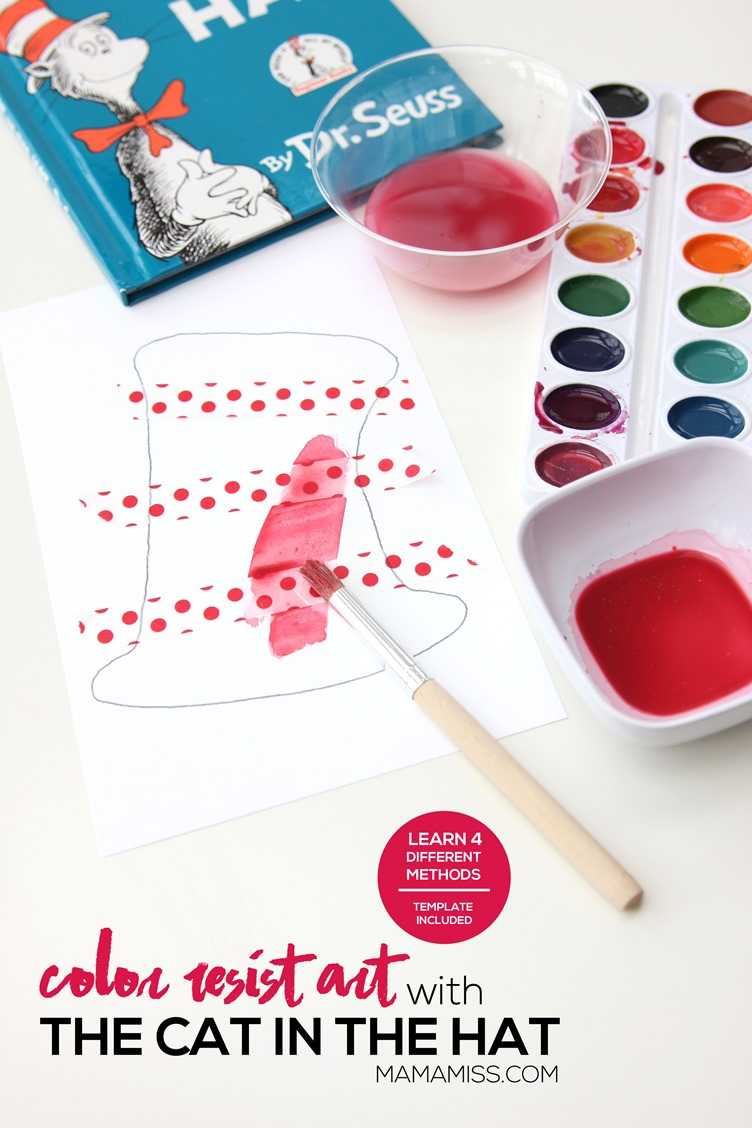 """To get in the Dr. Seuss """"spirit"""" after reading the book, we made Color Resist Art using paper tape and four different methods of color on our printable Dr. Seuss Hat.  From @mamamissblog"""