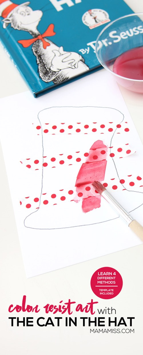 "To get in the Dr. Seuss ""spirit"" after reading the book, we made Color Resist Art using paper tape and four different methods of color on our printable Dr. Seuss Hat.  From @mamamissblog"