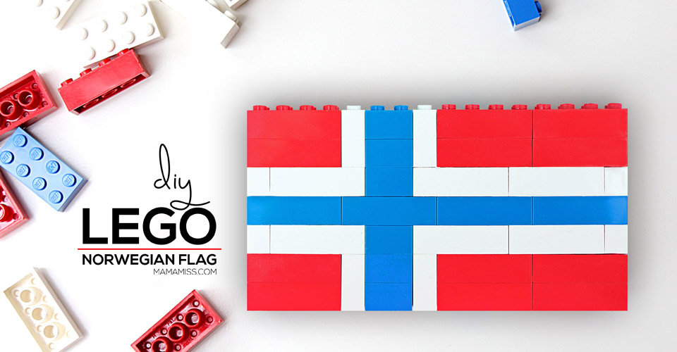 LEGO Norwegian flag! Study each country flag in a fun & educational way – with Legos from @mamamissblog