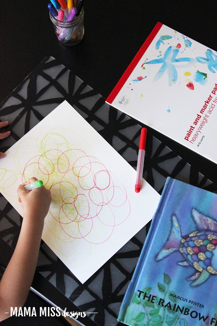 Start off with some process art in creating this colorful Scribble Art Rainbow Fish! A perfect activity involving math & art to accompany the popular children's book The Rainbow Fish. @mamamissblog