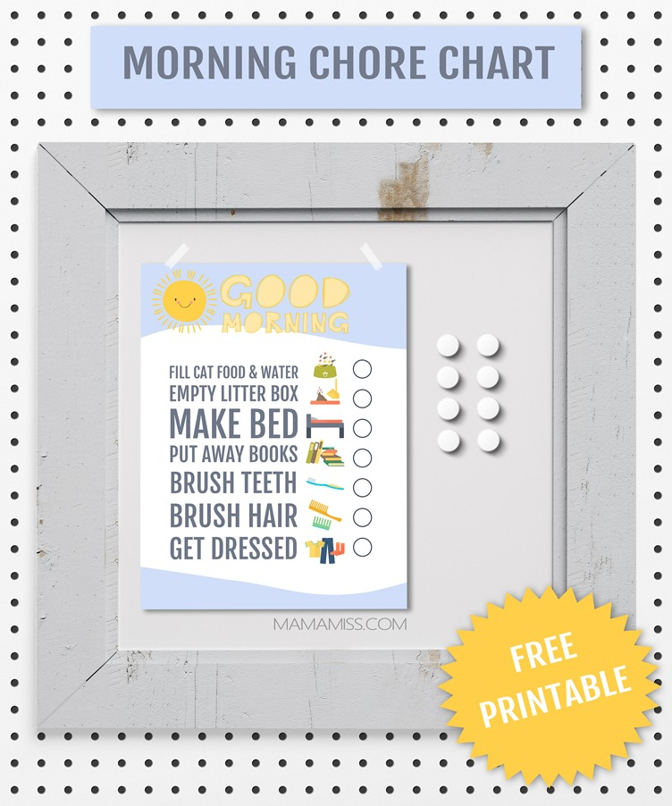 Morning Chore Chart :: make your mornings easier with this simple free printable morning chore chart from @mamamissblog