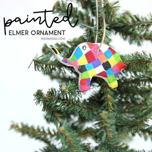 Painted Elmer Ornament - Made by Kids! Inspired by the kids book Elmer's Christmas.