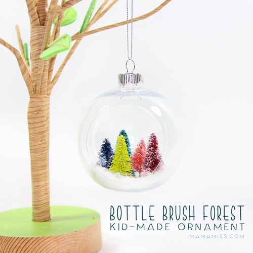 Bottle Brush Forest Ornament - Made by Kids! Inspired by the kids book Pick a Pine Tree from @mamamissblog for a #KidMadeChristmas