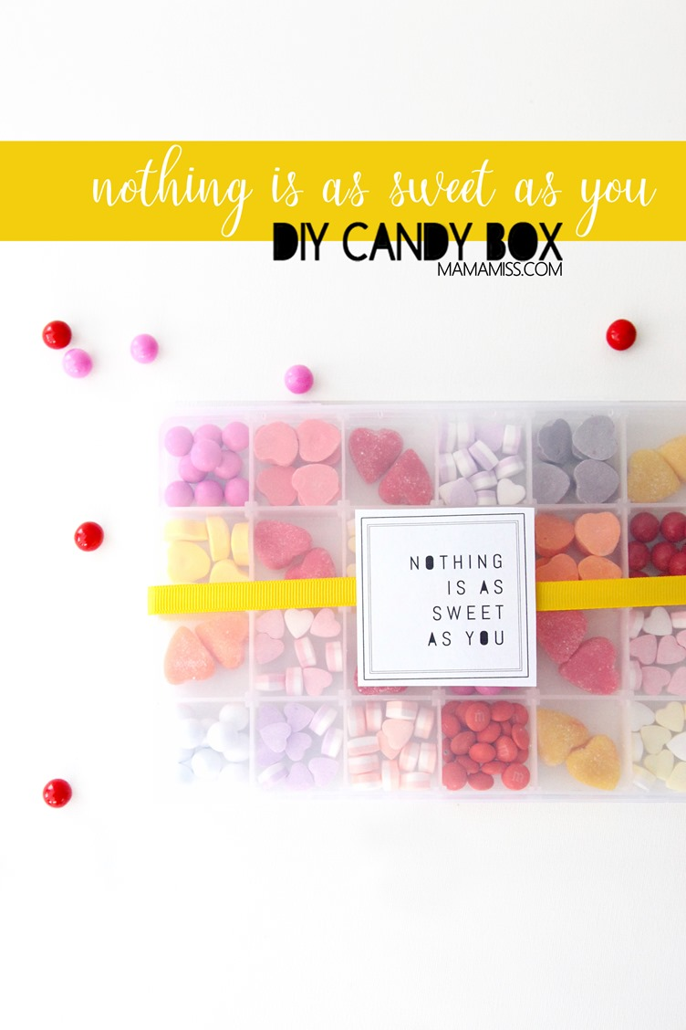 """Nothing is as sweet as you"", and that's the truth!  This DIY candy box is as simple as can be. From @mamamissblog #DIYcandy #DIYValentinesDay #ValentinesDay"