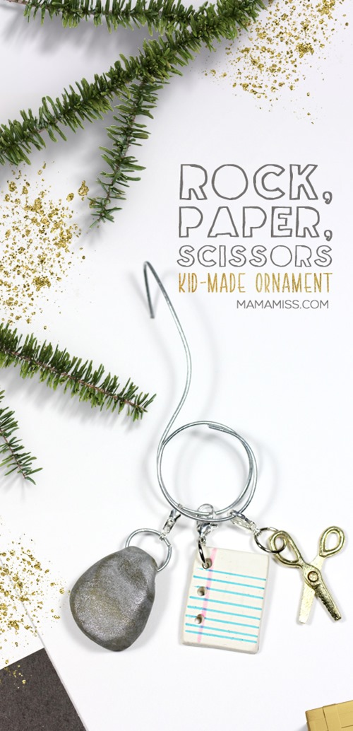 Rock, Paper, Scissors Ornament from @mamamissblog for a #KidMadeChristmas / Inspired by the kids book The Legend of Rock, Paper, Scissors by @DrewDaywalt @MrAdamRex