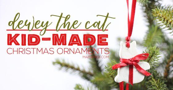 Dewey The Cat Christmas Ornament