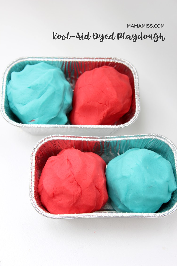 Kool-Aid Dyed Playdough offers up vibrant colors and a yummy scent, and the consistency stays soft over time. That's a win-win for homemade playdough! Found on @mamamissblog