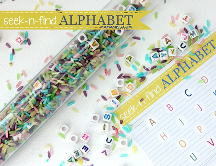 Seek-n-Find Alphabet Tube from @mamamissblog ©2012